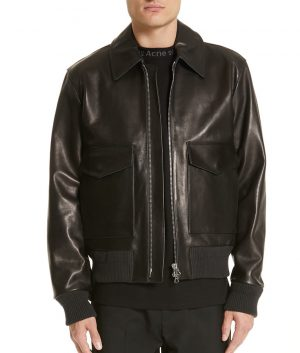Mens Turn Down Collar Slimfit Leather Jacket