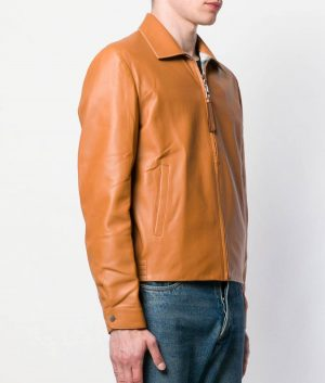 Clinton Mens Turn Down Collar Camel Brown Leather Jacket