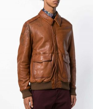 Caudillo Mens Turn Down Collar Casual Style Bomber Leather Jacket