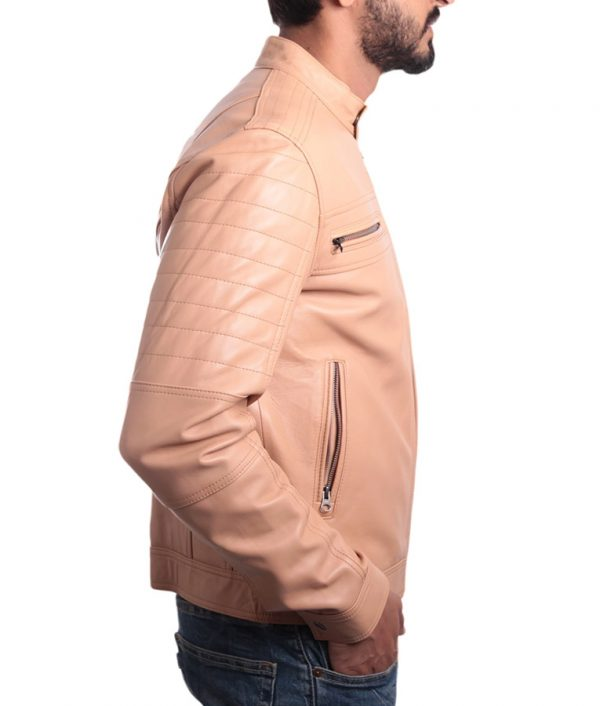 Andrews Mens Turn Down Collar Slimfit Beige Premium Leather Jacket