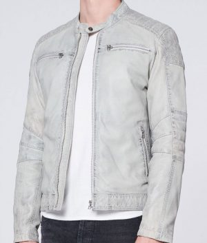 Mitchell Mens Style Light Grey Padded Shoulders Leather Jacket