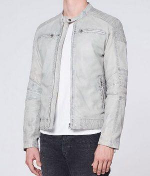 Mens Cafe Racer Style Light Grey Padded Shoulders Leather Jacket