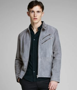 Moody Mens Turn Down Collar Slimfit Grey Casual Style Leather Jacket