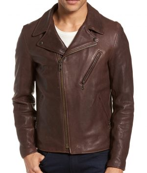 Mens Lapel Collar Slimfit Casual Brown Motorcycle Leather Jacket