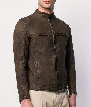 Norton Mens Casual Style Cafe Racer Leather Jacket