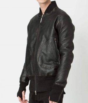Quesada Mens Slimfit Casual Style Black Bomber Leather Jacket