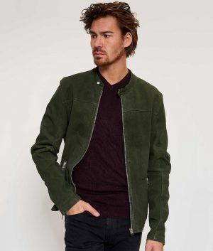 Ralph Mens Round Collar Slimfit Casual Style Leaf Biker Jacket