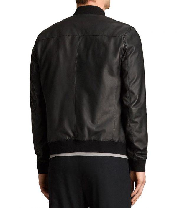 Mens Cafe Racer Style Slimfit Black Bomber Leather Jacket