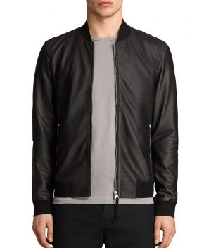 Randall Mens Cafe Racer Style Slimfit Bomber Leather Jacket