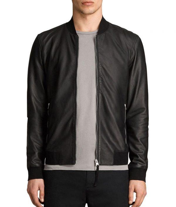 Randall Mens Cafe Racer Style Slimfit Bomber Leather Jacket