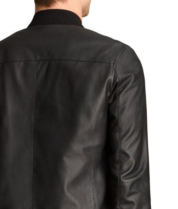 Randall Mens Cafe Racer Style Black Bomber Leather Jacket