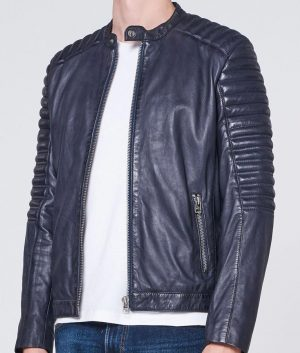 Mens Round collar Padded Shoulders Slimfit Style Leather Jacket