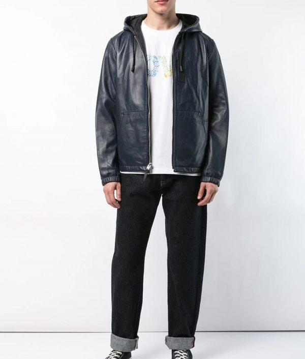 Raymond Mens Slimfit Hooded Leather Jacket