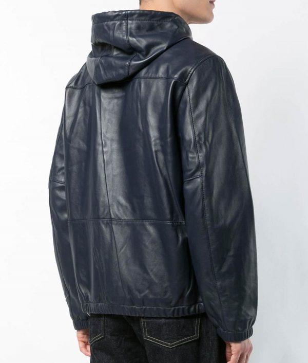 Mens Slimfit Hooded Blue Leather Jacket