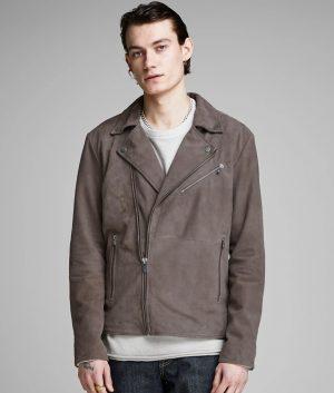 Richard Mens Lapel Collar Slimfit Biker Leather Jacket