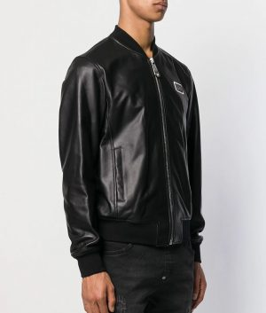 Mens Casual Cafe Racer Black Bomber Leather Jacket