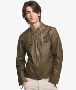 Mens Turn Down Collar Slimfit Dusty Green Leather Jacket