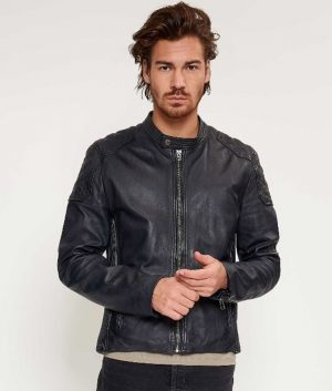 Mens Slimfit Casual Style Mandiran Collar Blue Leather Jacket