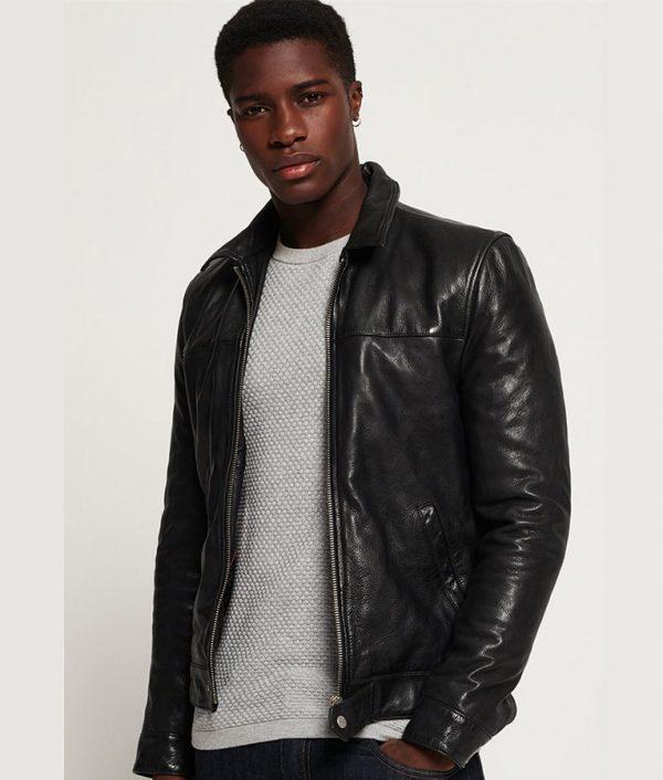 Spangler Mens Turn Down Collar Slimfit Leather Jacket