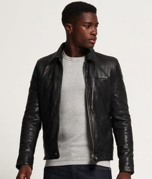 Mens Turn Down Collar Slimfit Black Leather Jacket