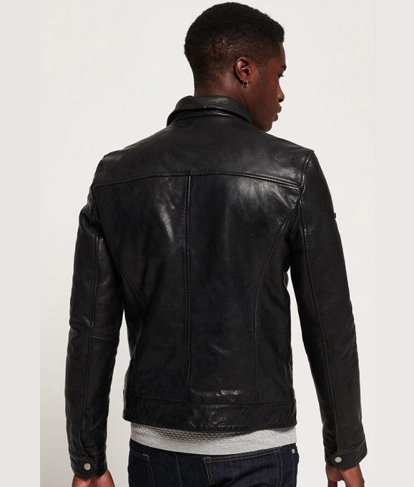 Spangler Mens Turn Down Collar Slimfit Black Leather Jacket
