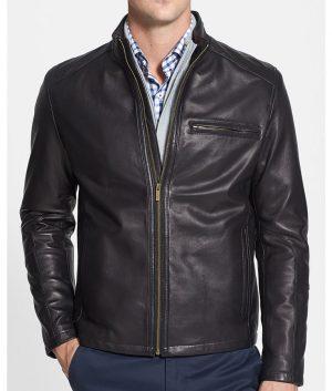 Springer Mens Slimfit Cafe Racer Style Lambskin Leather Jacket