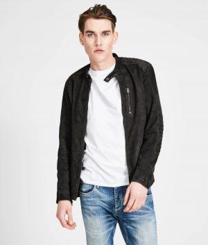 Stewart Mens Mandiran Collar Slimfit Black Cafe Racer Leather Jacket