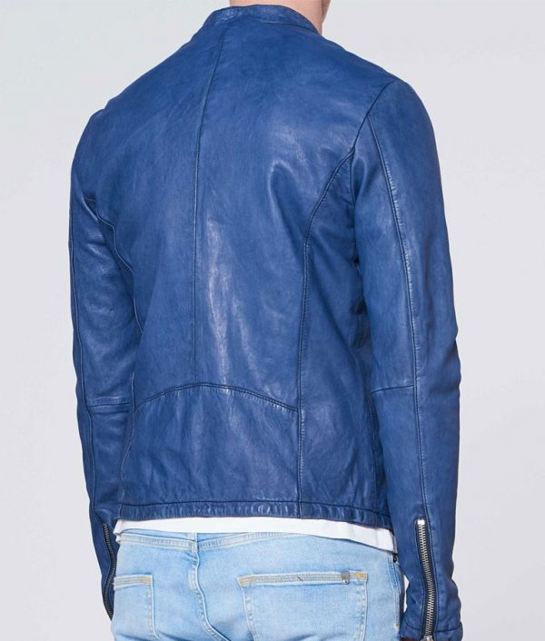 Strahan Mens Round Collar Denim Blue Slimfit Casual Style Leather Jacket
