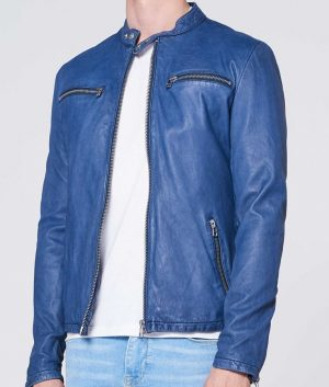 Strahan Mens Denim Blue Slimfit Casual Style Leather Jacket