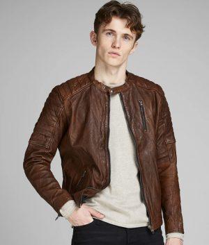 Sullivan Mens Slimfit Cafe Racer Padded Shoulder Leather Jacket