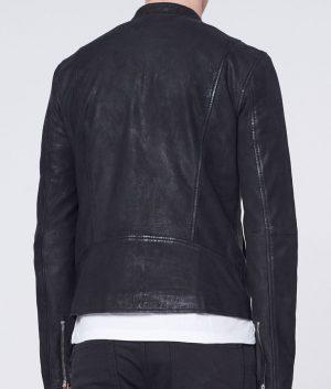 Sykes Mens Cafe Racer Style Slimfit Black Casual Biker Leather Jacket