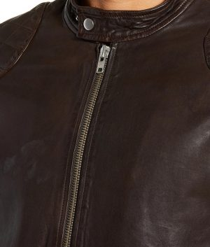 Mens Slimfit Cafe Racer Style Padded Shoulders Brown Jacket