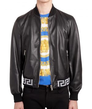 Terrance Mens Slimfit Black Cafe Racer Style Leather Jacket