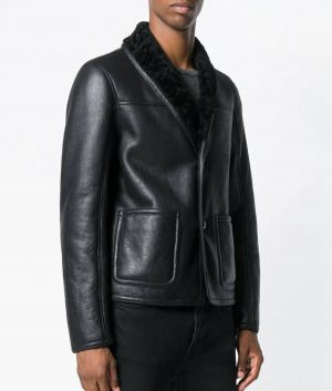 Theodore Mens Shearling Lined Collar Black Cafe Racer Leather Jacket