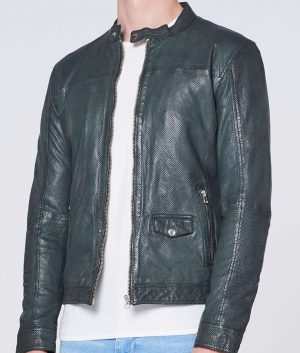 Mens Round Collar Sheep Tyrion Military Green Leather Jacket