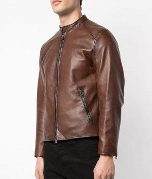 Turner Mens Slimfit Style Brown Leather Jacket