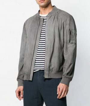 Mens Mandiran Collar Slimfit Grey Bomber Leather Jacket
