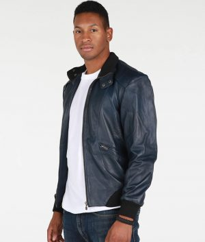 Wilde Mens Turn Down Collar Black Bomber Leather Jacket