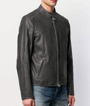 William Mens Cafe Racer Style Dark Grey Zipped Jacket