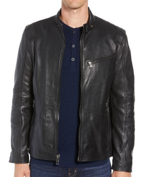 Mens Slimfit Black Cafe Racer Style Quilted Leather Jacket