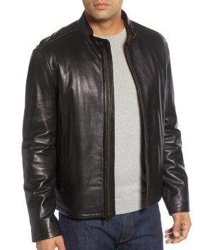 Willis Mens Mandiran Collar kCafe Racer Style Leather Jacket