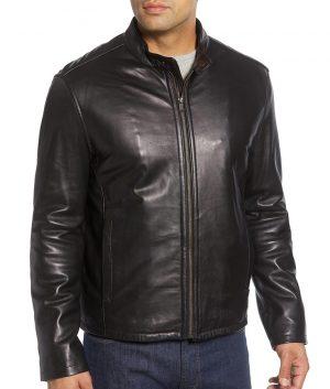 Willis Mens Mandiran Collar Slimfit Black Cafe Racer Leather Jacket