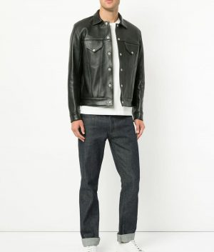 Aaron Mens Turn Down Collar Black Leather Jacket