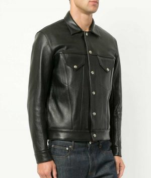 Aaron Mens Turn Down Collar Slimfit Black Leather Jacket