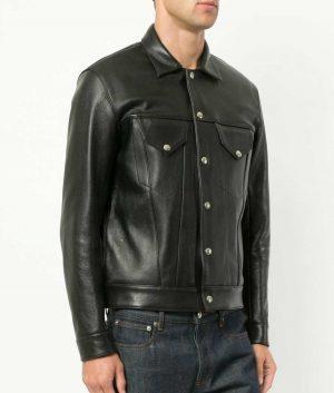 Aaron Mens Turn Down Collar Slimfit Black Leather Jacket