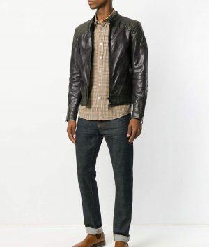Mens Padded Shoulders Zipped Biker Black Leather Jacket