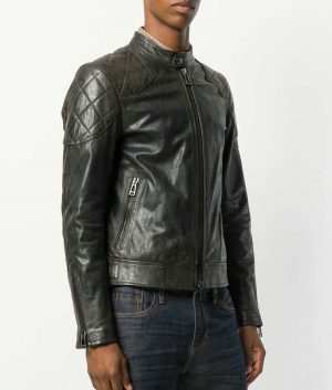 Alvarado Mens Padded Shoulders Zipped Biker Black Leather Jacket