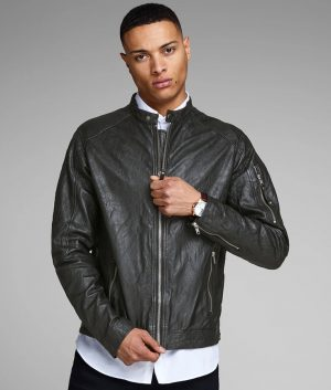 Mens Slimfit Cafe Racer Style Black Motorcycle Jacket