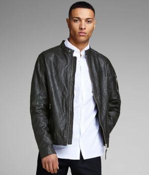 Arnold Mens Slimfit Cafe Racer Style Black Motorcycle Jacket