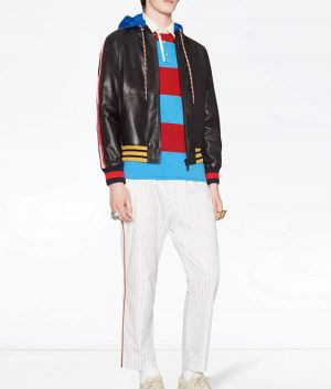 Barajas Mens Letterman Style Black Hooded Leather Jacket